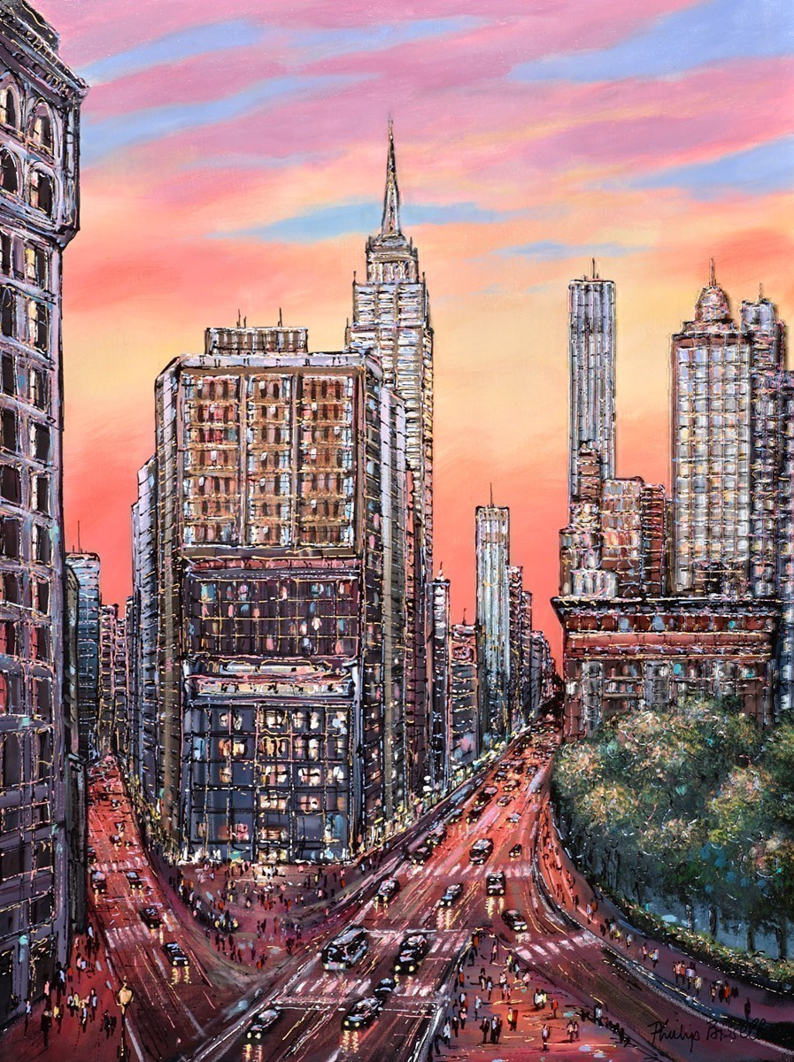 Empire State Evening by Phillip Bissell -  sized 24x32 inches. Available from Whitewall Galleries
